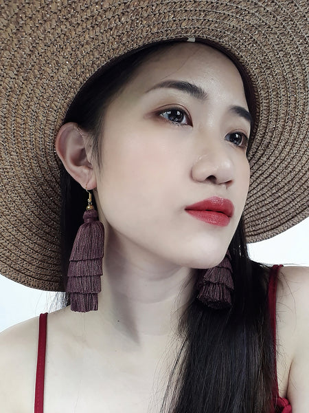 Piida Tiered Tassel Earrings Dangle Drop Earrings Bohemian Boho Earrings Ethnic Jewelry Fringe Tassel Women Earrings Cotton Brown TTE-C1