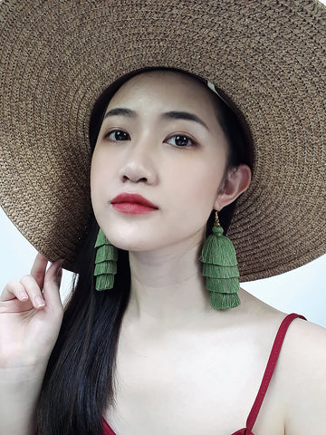 Piida Tiered Tassel Earrings Dangle Drop Earrings Bohemian Boho Earrings Ethnic Jewelry Fringe Tassel Women Earrings Cotton Green TTE-C8