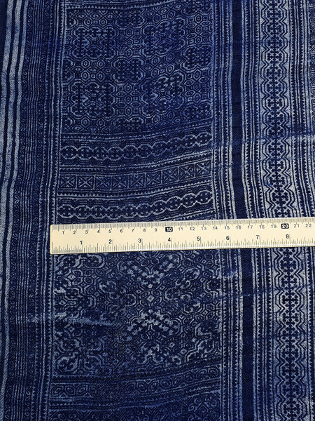 Thai Hand printed Fabric Natural Hemp Fabric Cotton Fabric by the yard Hmong Fabric Hill Tribe Fabric Vintage Fabric Batik Indigo Blue HO1