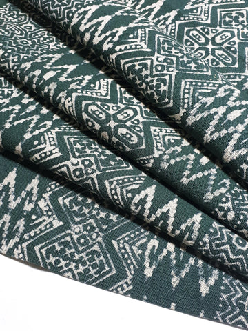 Thai Hand printed Fabric Natural Cotton Fabric by the yard Hmong Fabric Hill Tribe Fabric Vintage Fabric Batik Fabric Green HFP62
