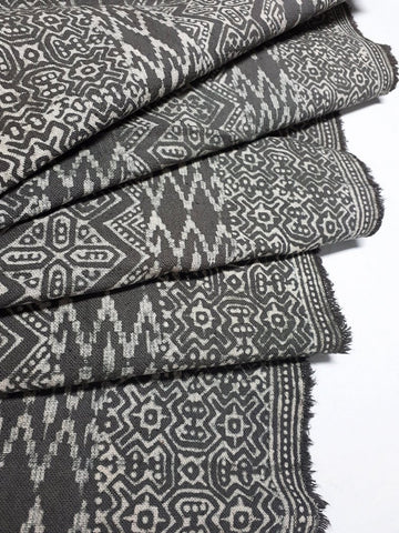 Thai Hand printed Fabric Natural Cotton Fabric by the yard Hmong Fabric Hill Tribe Fabric Vintage Fabric Batik Fabric Gray HFP52