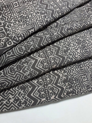 Thai Hand printed Fabric Natural Cotton Fabric by the yard Hmong Fabric Hill Tribe Fabric Vintage Fabric Batik Fabric Gray HFP53