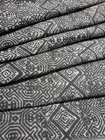 Thai Hand printed Fabric Natural Cotton Fabric by the yard Hmong Fabric Hill Tribe Fabric Vintage Fabric Batik Fabric Gray HFP57