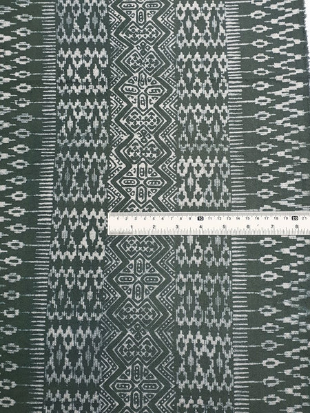 Thai Hand printed Fabric Natural Cotton Fabric by the yard Hmong Fabric Hill Tribe Fabric Vintage Fabric Batik Fabric Gray Green HFP48