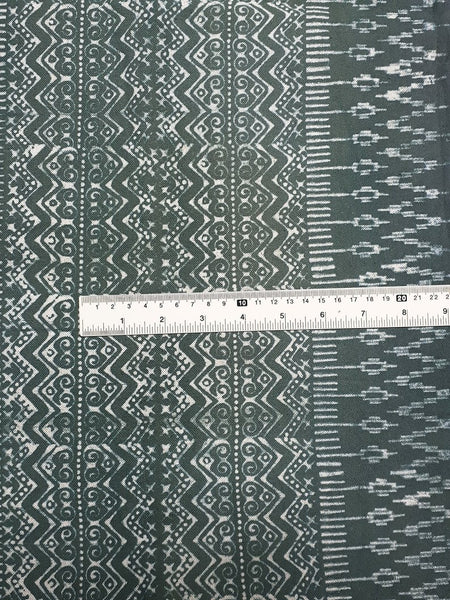 Thai Hand printed Fabric Natural Cotton Fabric by the yard Hmong Fabric Hill Tribe Fabric Vintage Fabric Batik Fabric Gray Green HFP47