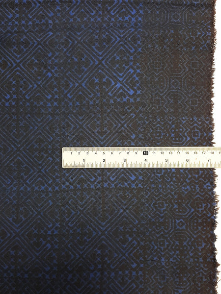 Thai Hand printed Fabric Natural Cotton Fabric by the yard Hmong Fabric Hill Tribe Fabric Vintage Fabric Batik Fabric Blue Gray HFP60