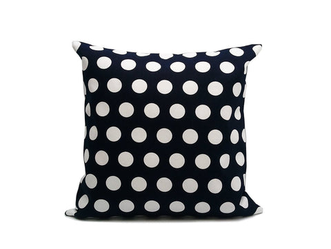 Dark Navy Blue Dots : ONE 18x18 inch Handmade Pillowcase Decorative pillow Covers- Canvas fabric - PCD1