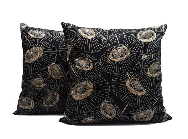 Ancient Umbrella : SET OF TWO 18x18 inch Handmade Decorative pillow Covers - Satin fabric - PST2
