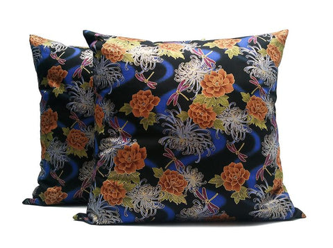Night Time: SET OF TWO 20x20 inch Handmade Decorative pillow Covers flower & dragonfly printed Satin fabric - PST1