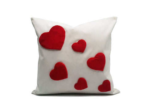 Heart : ONE 18x18 inch Handmade Decorative pillow Covers Hand sewing Red White - PCH5