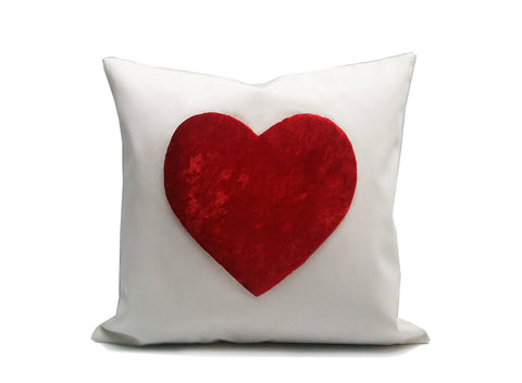 Heart : ONE 18x18 inch Handmade Pillowcase Decorative Pillow Covers - Hand sewing - Red PCH1