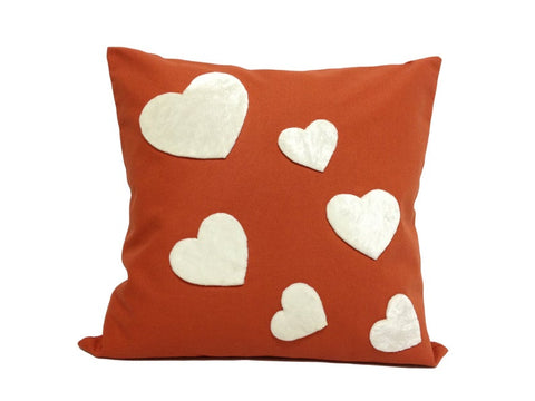 Heart : ONE 18x18 inch Handmade Decorative pillow Covers Hand sewing Orange Burnt - PCH6