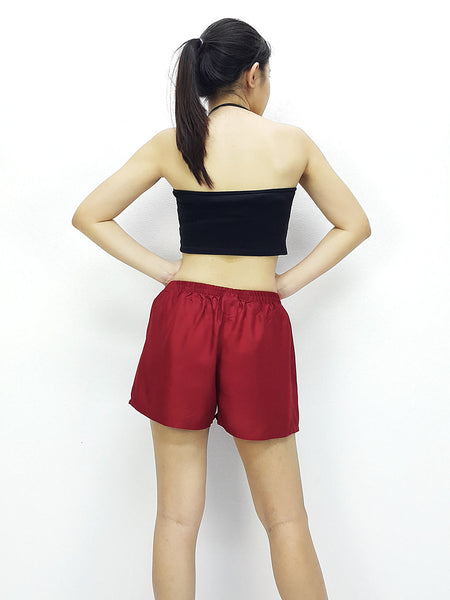Rayon Shorts Bohemian Hippie Beach Plain Solid Color Maroon Red (SC11), NaughtyGirl, HaremPantsThai
