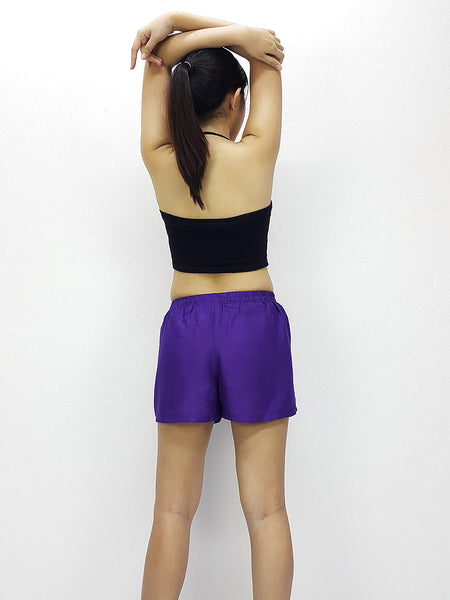 Rayon Shorts Bohemian Hippie Beach Plain Solid Color Purple (SC40), NaughtyGirl, HaremPantsThai