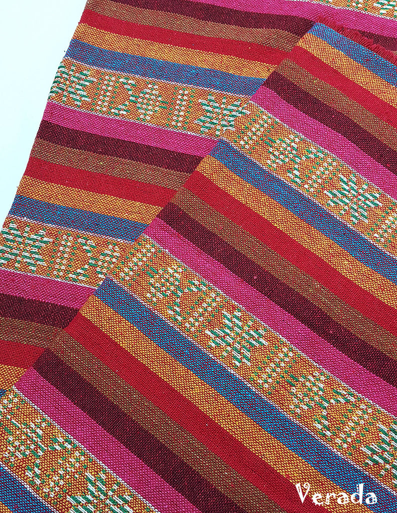 thai woven cotton fabric tribal fabric native fabric by the yard ethnic fabric aztec fabric craft supplies woven textile 1 2 yard wf135