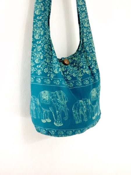 Cotton bag Elephant bag Hippie Hobo bag Boho bag Shoulder bag Sling bag Tote bag Crossbody bag Turquoise blue, VeradaShop, HaremPantsThai