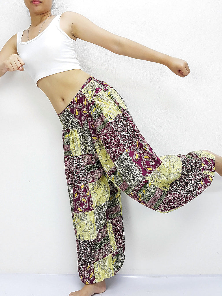 SRT@49 Thai Women Clothing Comfy Rayon Bohemian Trousers Hippie Baggy Genie Boho Pants Patchwork Maroon Red