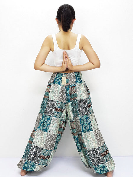 SRT@52 Thai Women Clothing Comfy Rayon Bohemian Trousers Hippie Baggy Genie Boho Pants Patchwork Petrol Teal