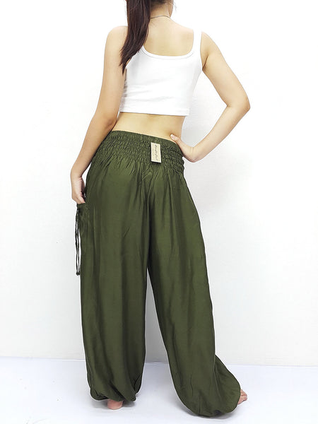 Handmade Harem Trousers Rayon Bohemian Trousers Hippie Boho Pants Solid Color Solid Color Avocado Green (TC22), NaughtyGirl, HaremPantsThai