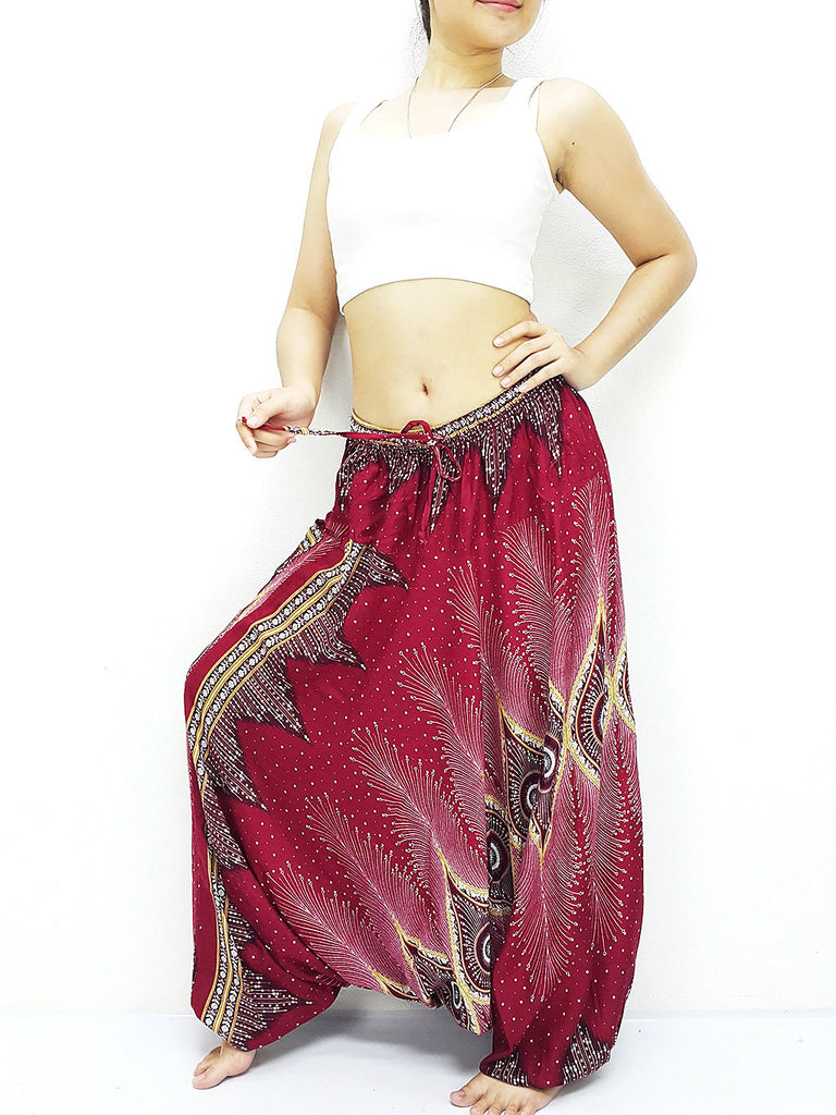 SRH@50 Handmade Harem Pants Rayon Bohemian Hippie Boho Pants Peacock Dark Red