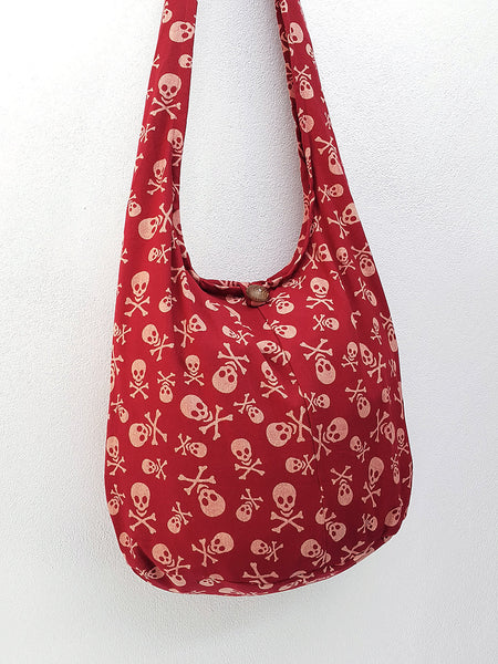 Cotton Handbags Skeleton Hippie Hobo bag Boho bag Shoulder bag Sling bag Tote bag Crossbody bag Light Red, VeradaShop, HaremPantsThai