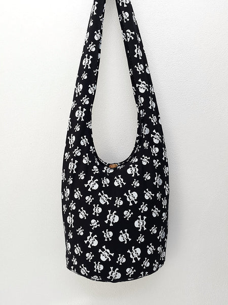 Cotton Handbags Skeleton Hippie Hobo bag Boho bag Shoulder bag Sling bag Tote bag Crossbody bag Black, VeradaShop, HaremPantsThai