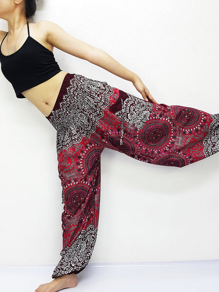 Handmade Harem Trousers Rayon Bohemian Trousers Hippie Boho Pants Hive Red Gray (TS216)