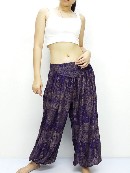 SRT@30 Thai Women Clothing Comfy Rayon Bohemian Trousers Hippie Baggy Genie Boho Pants Paisley Purple