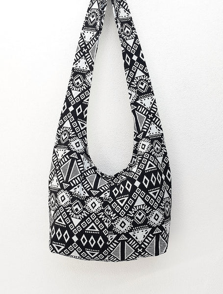 Woven Cotton bag Hobo Boho bag Shoulder Bag Sling bag Crossbody bag Black White, VeradaShop, HaremPantsThai