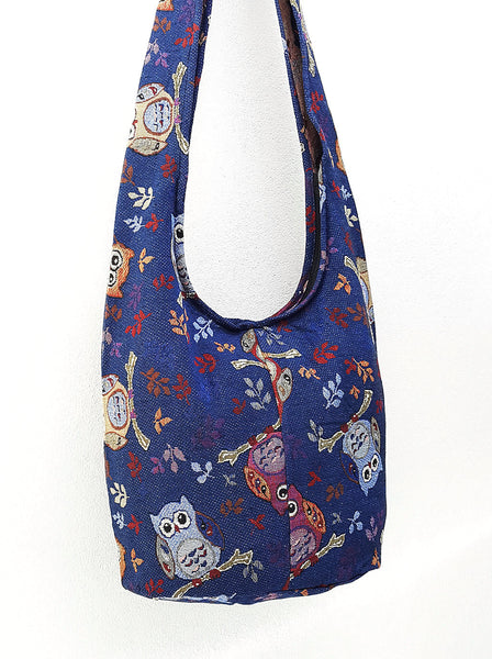 Woven Bag Hippie bag Hobo Boho bag Shoulder bag Sling bag bag Tote Crossbody bag Women bag Handbags Long Strap Owl Navy Blue
