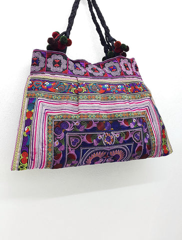 Thai Hill Tribe Bag Pom Pom Hmong Thai Bag Embroidered Ethnic Purse Bag Woven Bag Hippie Bag Hobo Bag Boho Bag Shoulder Bag: Pink Purple