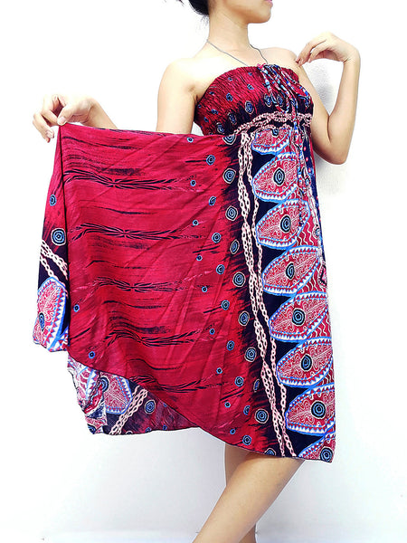 Thai Women Clothing Natural Cotton Convertible Dresses Skirts Red (DS74)