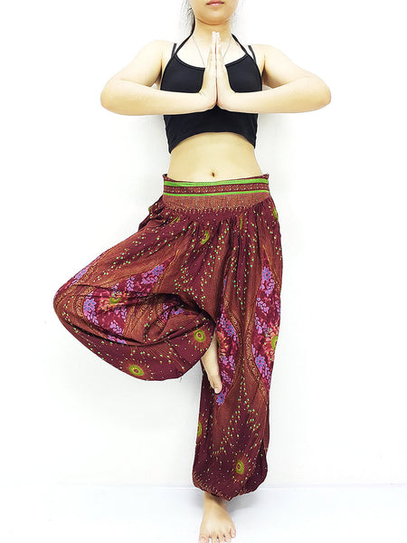 SRT@45 Thai Women Clothing Comfy Rayon Bohemian Trousers Hippie Baggy Genie Boho Pants Dark Red