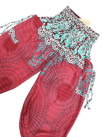 KIDS SIZE 3-4yrs Unisex Kids Handmade Harem Trousers Rayon Bohemian Hippie Aladdin  Hive Red  (TS142)