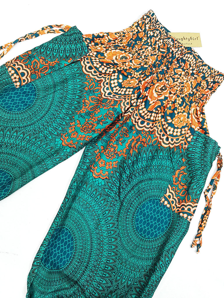 KIDS SIZE 3-4yrs Unisex Kids Handmade Harem Trousers Rayon Bohemian Hippie Aladdin  Hive Teal Green Orange (TS146)
