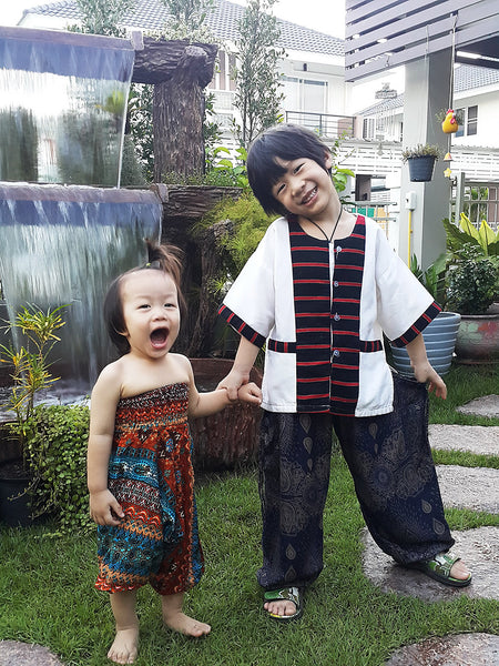KIDS SIZE 3-4yrs Unisex Kids Rayon Harem Pants Bohemian Hippie Aladdin Style Miracle Orange Blue (HP32), Pants, NaughtyGirl, HaremPantsThai