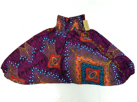 KIDS SIZE 3-4yrs Unisex Kids Handmade Rayon Harem Pants Bohemian Hippie Aladdin Miracle Purple (HP89)