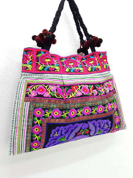 Thai Hill Tribe Bag Pom Pom Hmong Thai Bag Embroidered Ethnic Purse Bag Woven Bag Hippie Bag Hobo Bag Boho Bag Shoulder Bag: Violet Purple