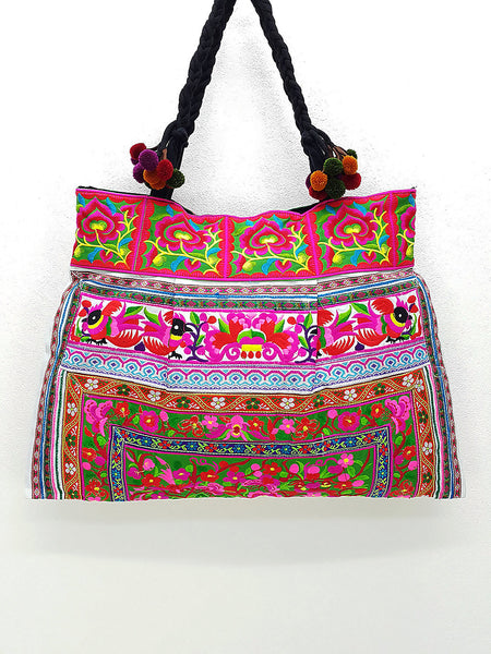Thai Hill Tribe Bag Pom Pom Hmong Embroidered Ethnic Purse Woven Bag Hippie Bag Hobo Bag Boho Bag Shoulder Bag: Hot Pink Green, VeradaShop, HaremPantsThai