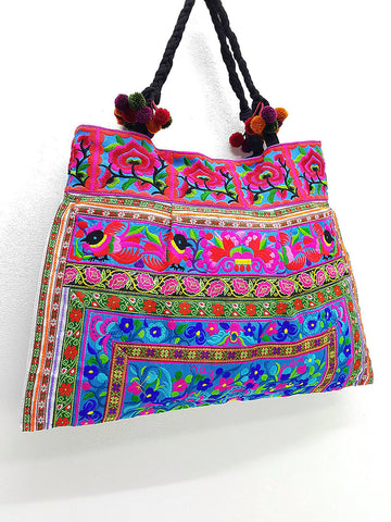 Thai Hill Tribe Bag Pom Pom Hmong Thai Bag Embroidered Ethnic Purse Bag Woven Bag Hippie Bag Hobo Bag Boho Bag Shoulder Bag: Blue Green Pink