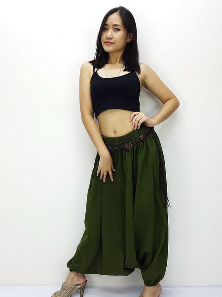 PT22 Handmade Harem Pants Cotton Boho Pants Olive Green