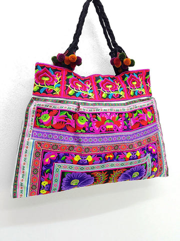 Thai Hill Tribe Bag Pom Pom Hmong Thai Bag Embroidered Ethnic Purse Bag Woven Bag Hippie Bag Hobo Boho Bag Shoulder Bag Purple Violet Green