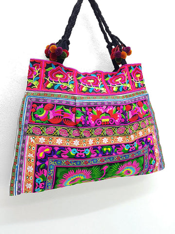 Thai Hill Tribe Bag Pom Pom Hmong Thai Bag Embroidered Ethnic Purse Bag Woven Bag Hippie Bag Hobo Boho Bag Shoulder Bag Green Hot Pink