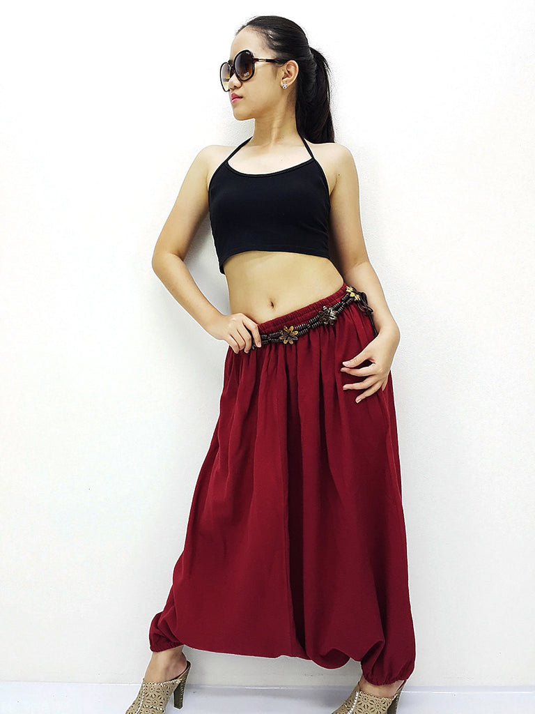 PT22 Handmade Harem Pants Cotton Boho Pants Red