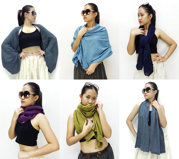 Thai Cotton Scarf Double Cotton Gauze Shrug Shawl Wraps Tops Grey (SL3), NaughtyGirl, HaremPantsThai