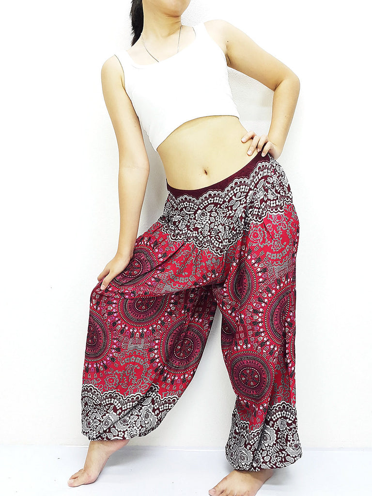 SRT@54 Thai Women Clothing Comfy Rayon Bohemian Trousers Hippie Baggy Genie Boho Pants Red