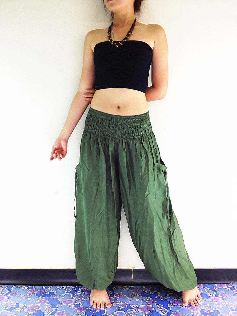 Handmade Harem Trousers Rayon Bohemian Trousers Hippie Boho Pants Green Olive (TC15)