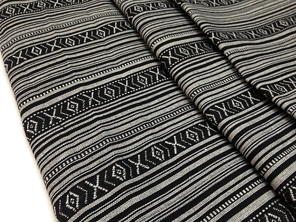 Thai woven fabric Tribal fabric naTive fabric by The yard eThnic fabric azTec fabric crafT supplies woven TexTile 1 2 yard black whiTeFF1