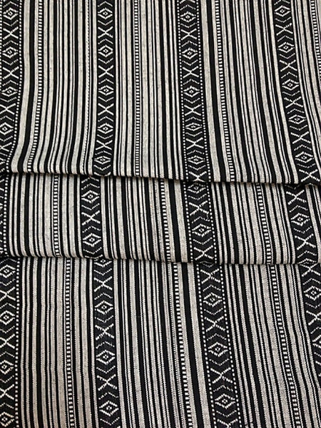 Thai Tribal Native Woven Fabric textile 1/2 yard Black White(FF1), VeradaCraft, HaremPantsThai
