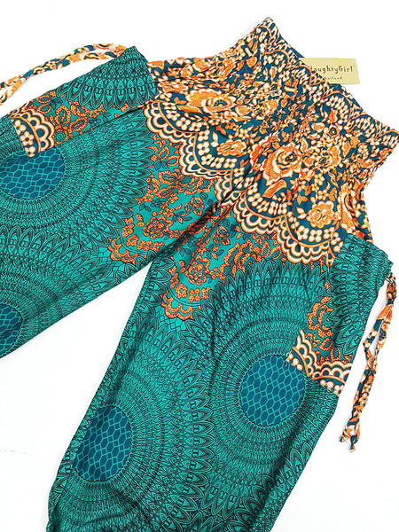 KIDS SIZE 7-8yrs Unisex Kids Handmade Harem Trousers Rayon Bohemian Hippie Aladdin Hive Teal Green Orange (TS146)